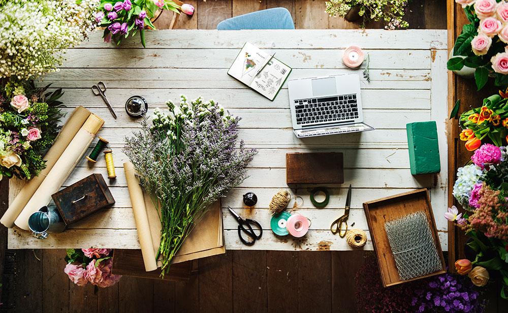 masa de lucru pentru design floral
