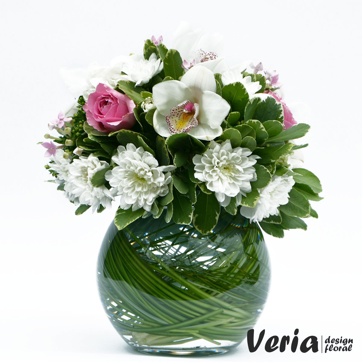 Aranjament Flori Albe Si Roz Pe Bol Comanda La Floraria Veria