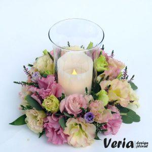 Aranjament flori in nuante pastel