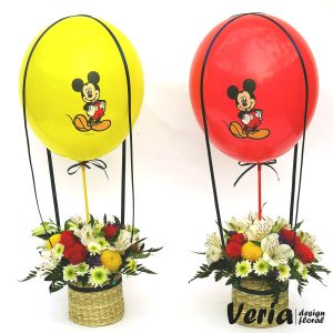Aranjament flori si balon cu Mickey Mouse